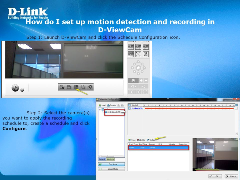 How do I set up motion detection and recording in D-ViewCam