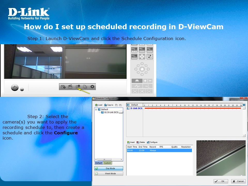 How do I set up scheduled recording in D-ViewCam