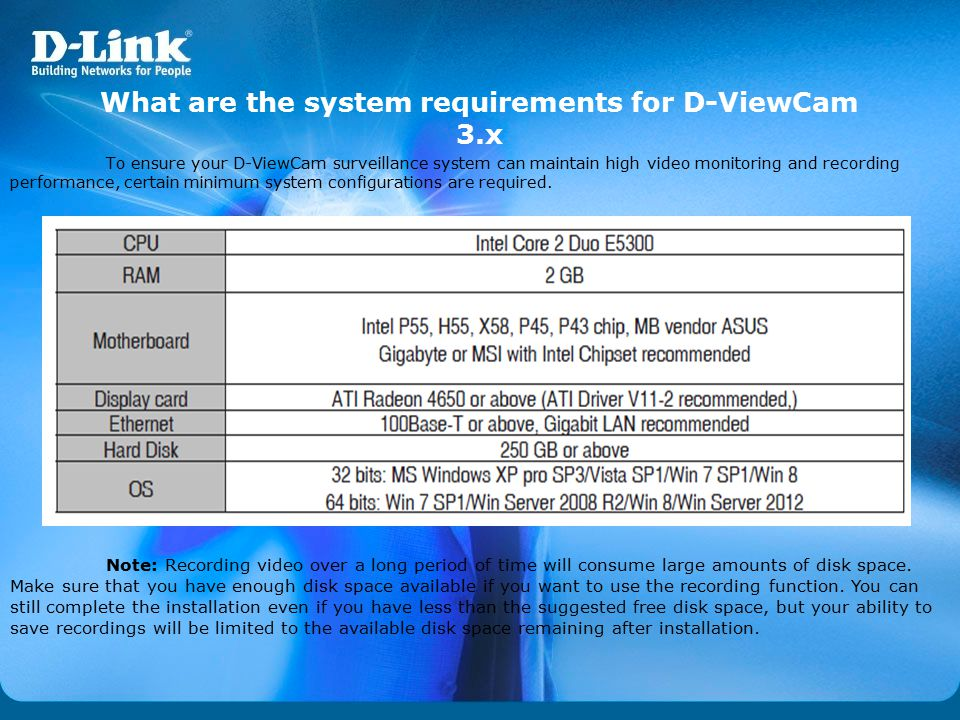 What are the system requirements for D-ViewCam 3.x