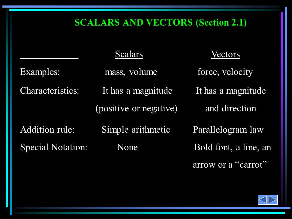 SCALARS AND VECTORS (Section 2.1)