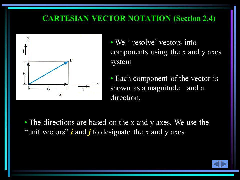 CARTESIAN VECTOR NOTATION (Section 2.4)
