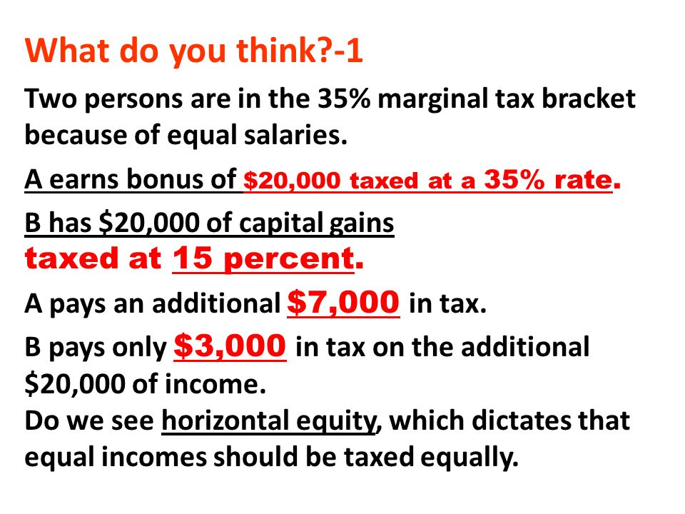 What do you think -1 Two persons are in the 35% marginal tax bracket because of equal salaries. A earns bonus of $20,000 taxed at a 35% rate.