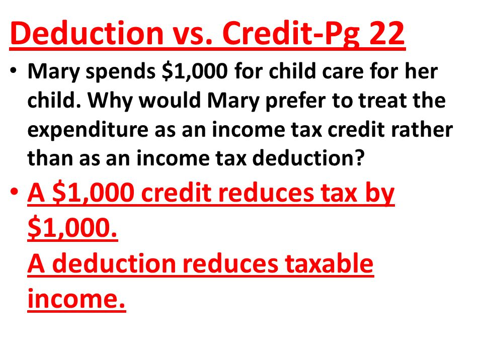 Deduction vs. Credit-Pg 22