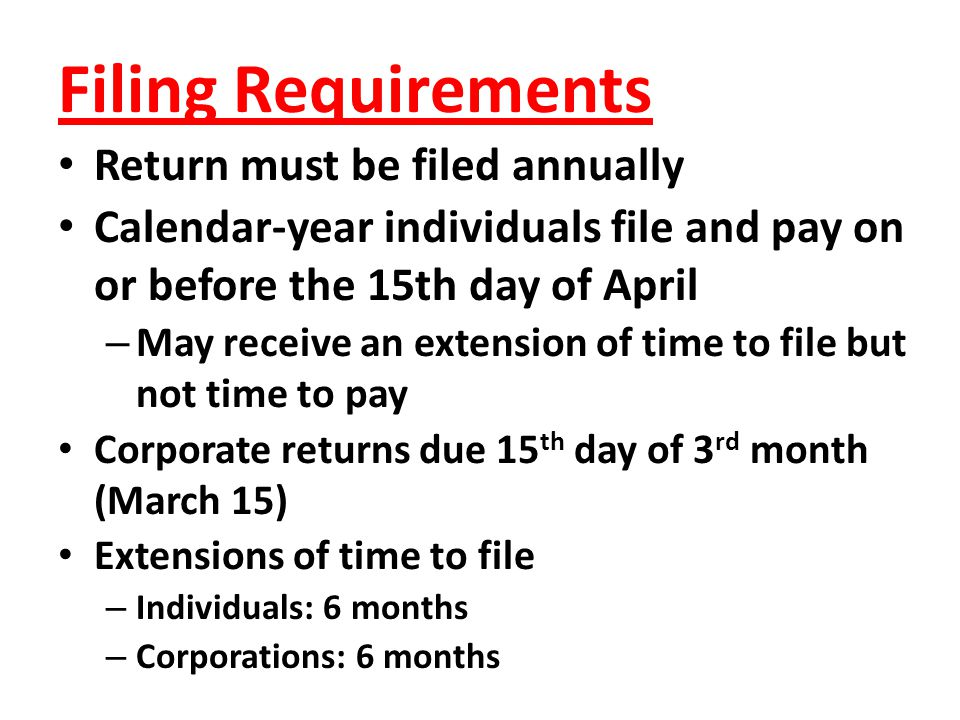 Filing Requirements Return must be filed annually