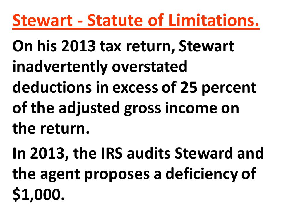 Stewart - Statute of Limitations.