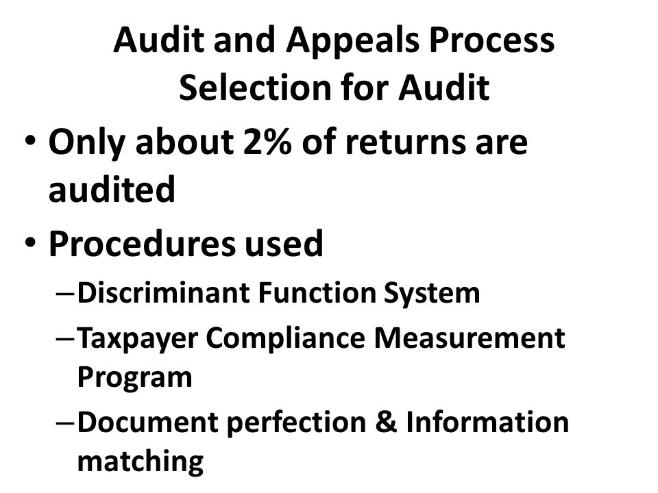 Audit and Appeals Process Selection for Audit