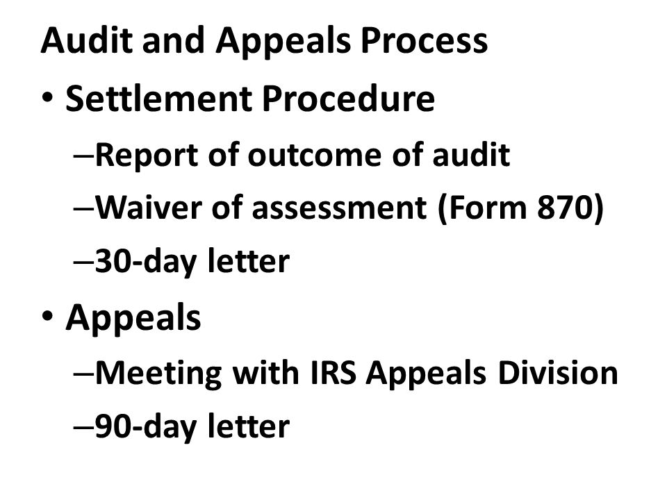 Audit and Appeals Process Settlement Procedure