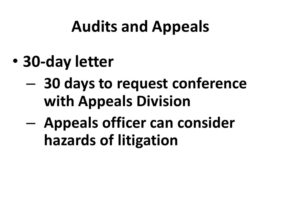 Audits and Appeals 30-day letter