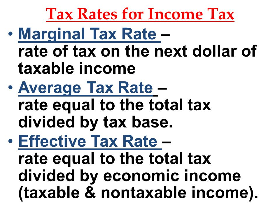 Tax Rates for Income Tax