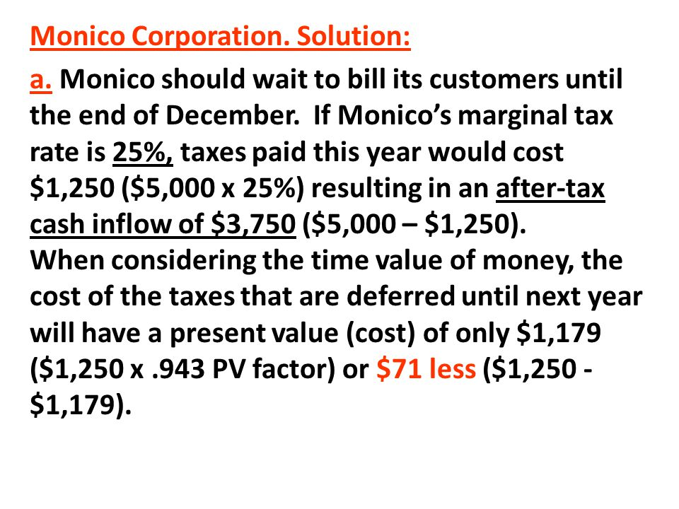 Monico Corporation. Solution:
