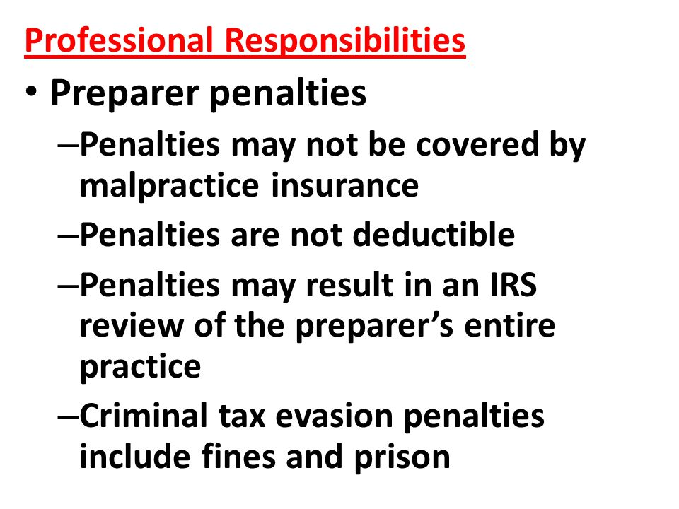 Preparer penalties Professional Responsibilities