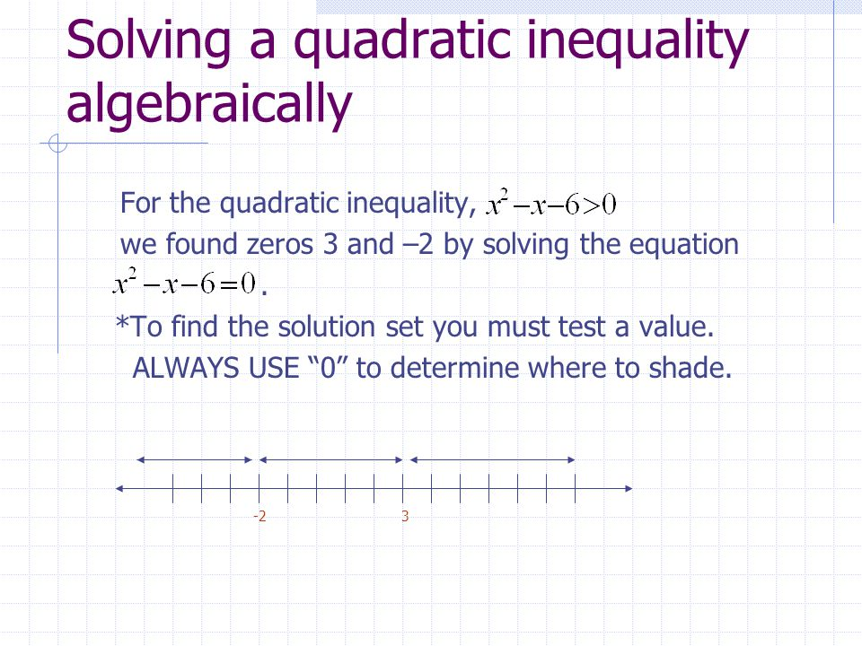 Solving a quadratic inequality algebraically