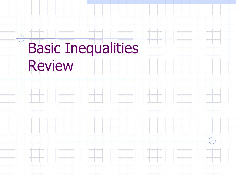 Basic Inequalities Review