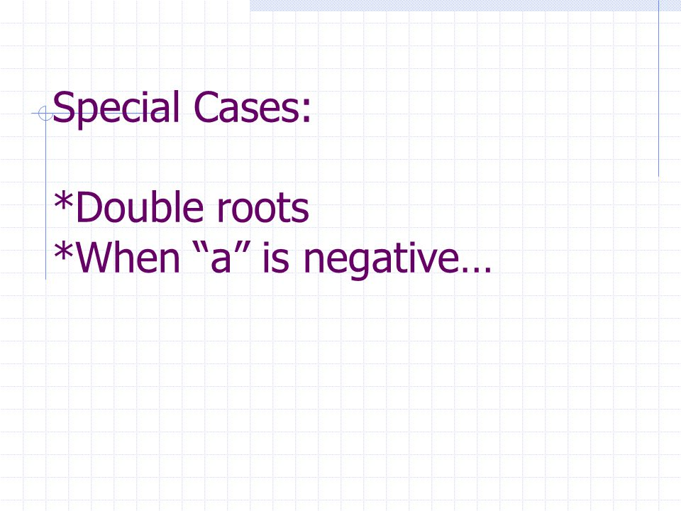 Special Cases: *Double roots *When a is negative…
