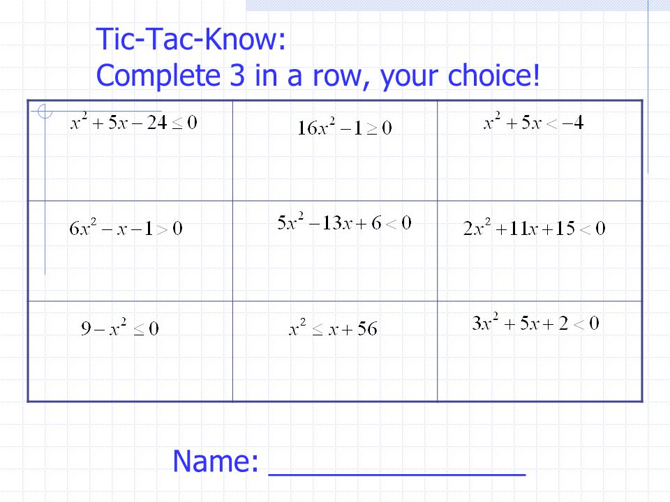 Tic-Tac-Know: Complete 3 in a row, your choice!