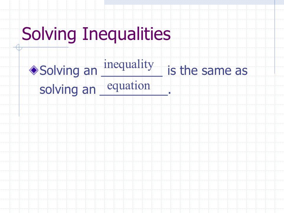 Solving Inequalities inequality