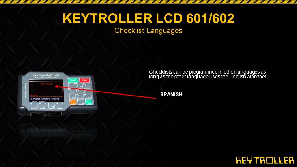 KEYTROLLER LCD 601/602 Checklist Languages