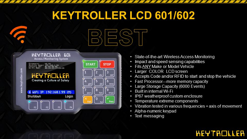 KEYTROLLER LCD 601/602 BEST. State-of-the-art Wireless Access Monitoring. Impact and speed sensing capabilities.