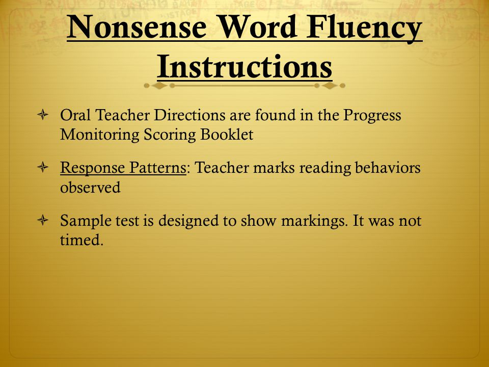 Nonsense Word Fluency Instructions
