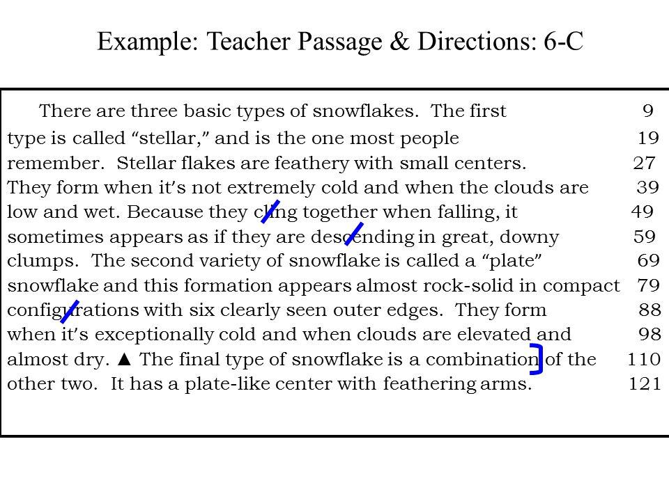 Example: Teacher Passage & Directions: 6-C