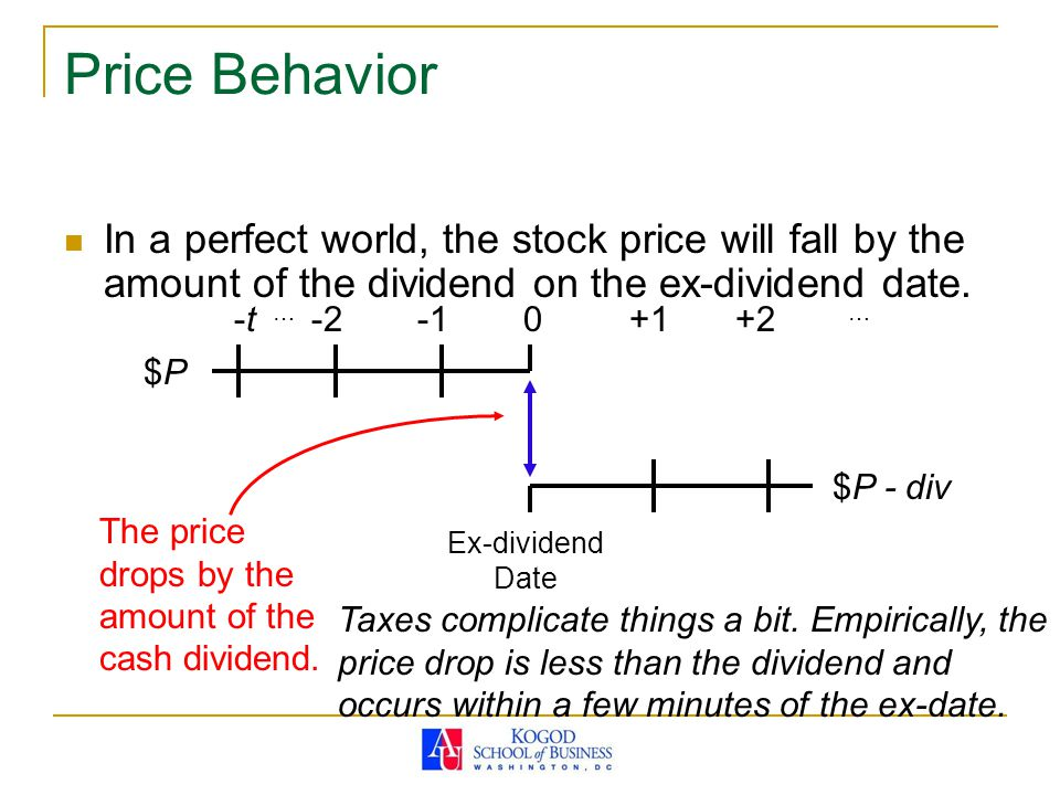 Price Behavior In a perfect world, the stock price will fall by the amount of the dividend on the ex-dividend date.