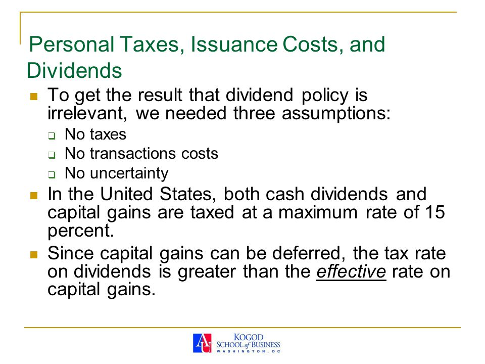 Personal Taxes, Issuance Costs, and Dividends