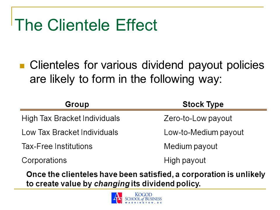 The Clientele Effect Clienteles for various dividend payout policies are likely to form in the following way: