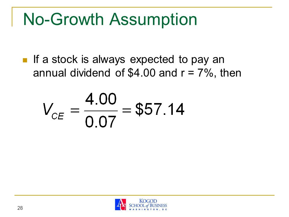 No-Growth Assumption If a stock is always expected to pay an annual dividend of $4.00 and r = 7%, then.