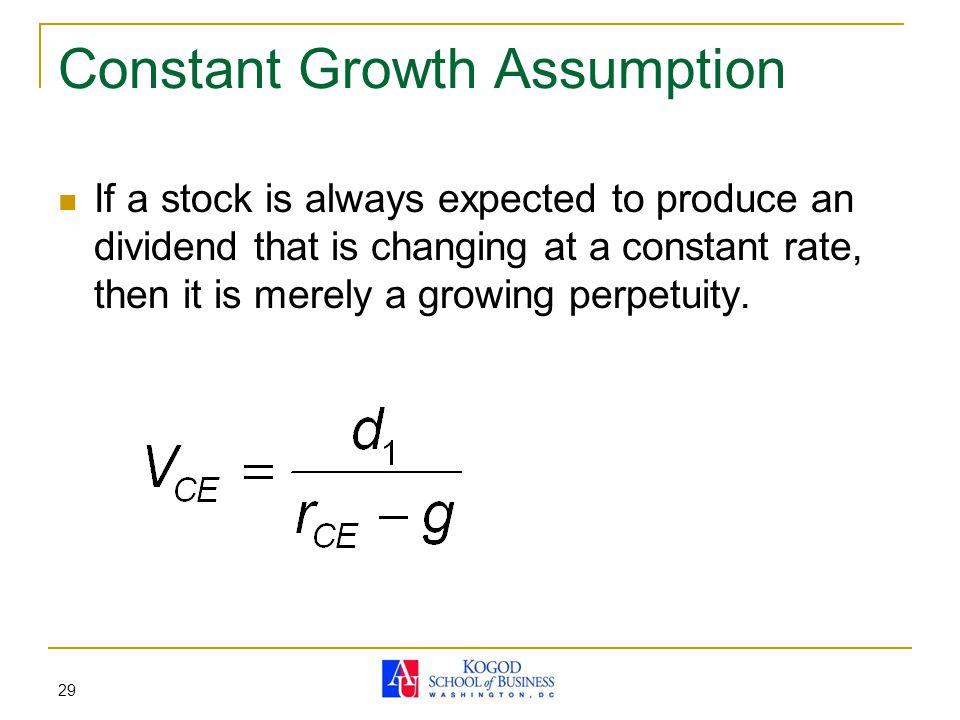 Constant Growth Assumption