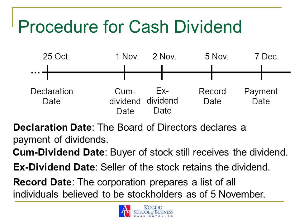 Procedure for Cash Dividend
