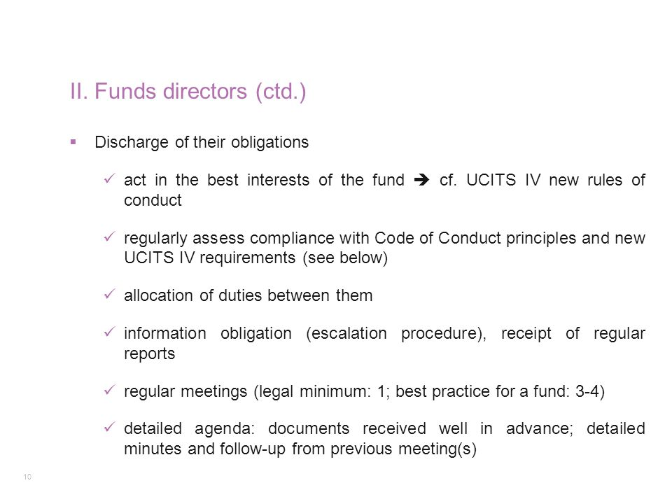 II. Funds directors (ctd.)