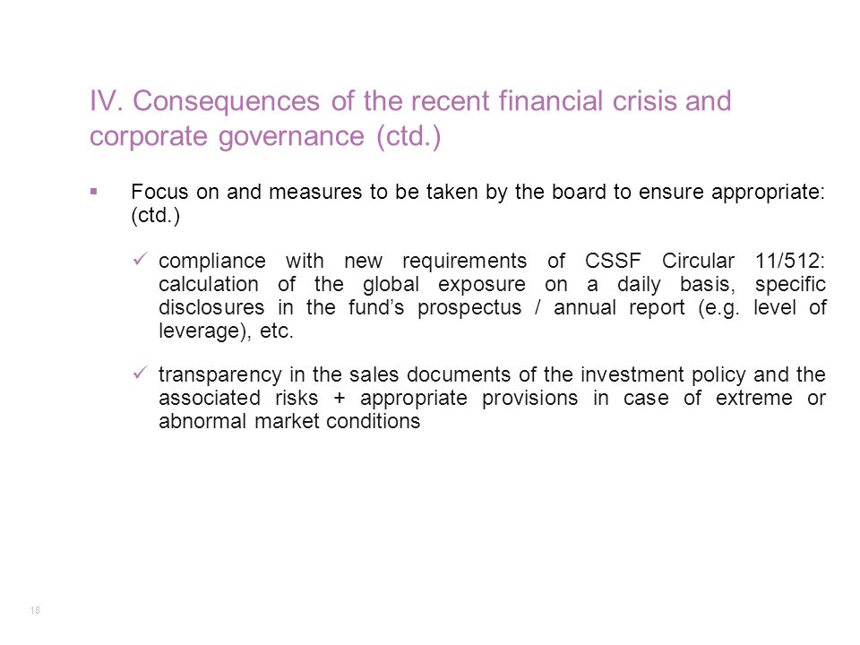 IV. Consequences of the recent financial crisis and corporate governance (ctd.)