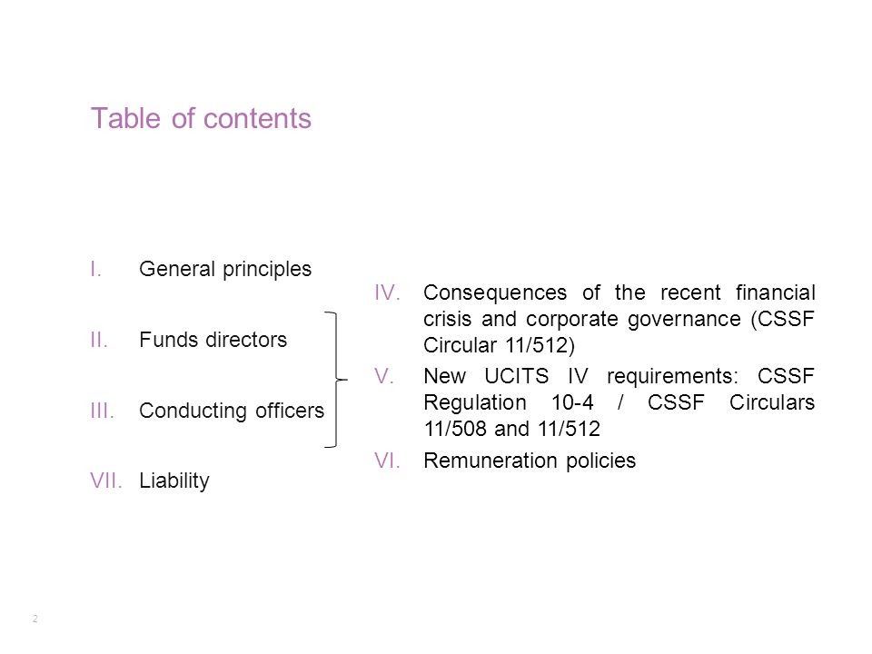 Table of contents General principles Funds directors