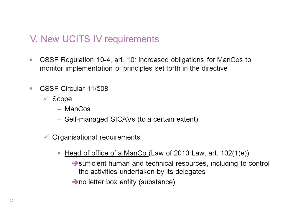 V. New UCITS IV requirements