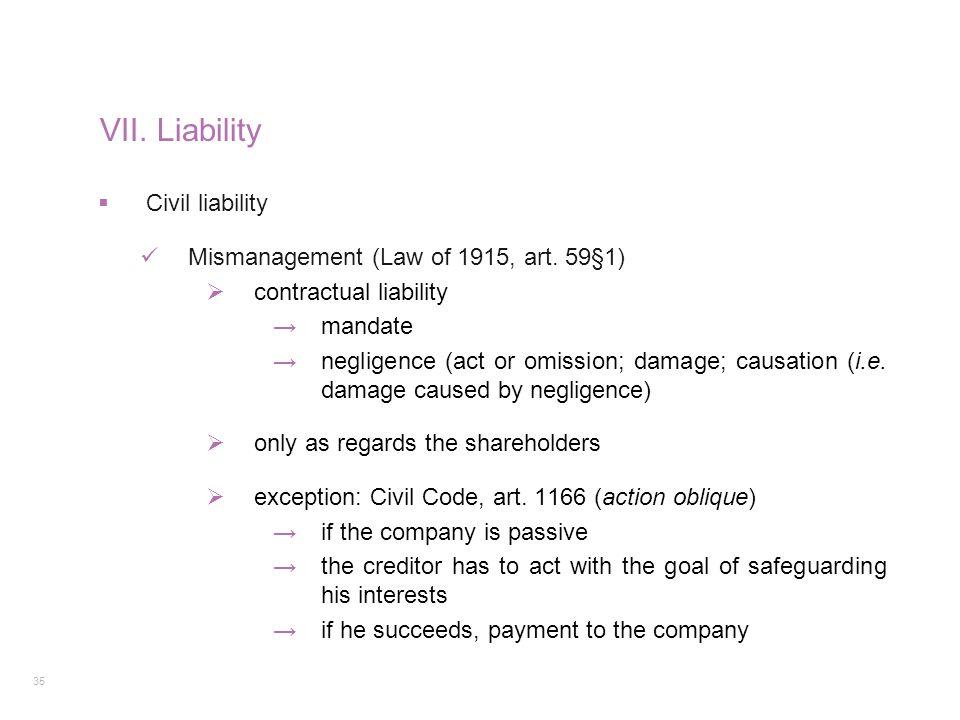 VII. Liability Civil liability Mismanagement (Law of 1915, art. 59§1)