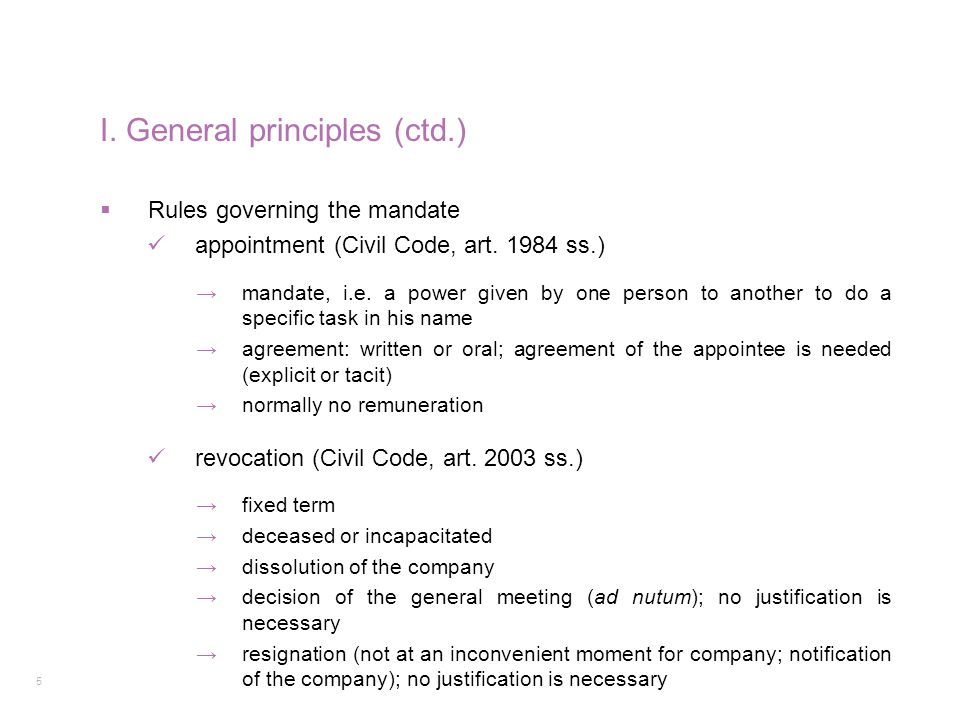 I. General principles (ctd.)