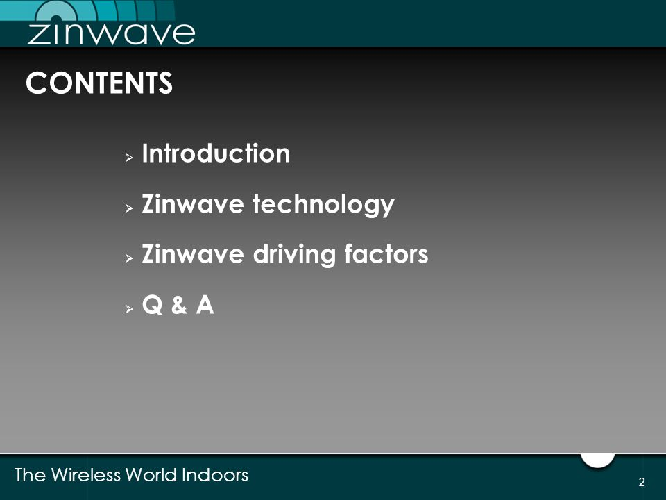 CONTENTS Introduction Zinwave technology Zinwave driving factors Q & A