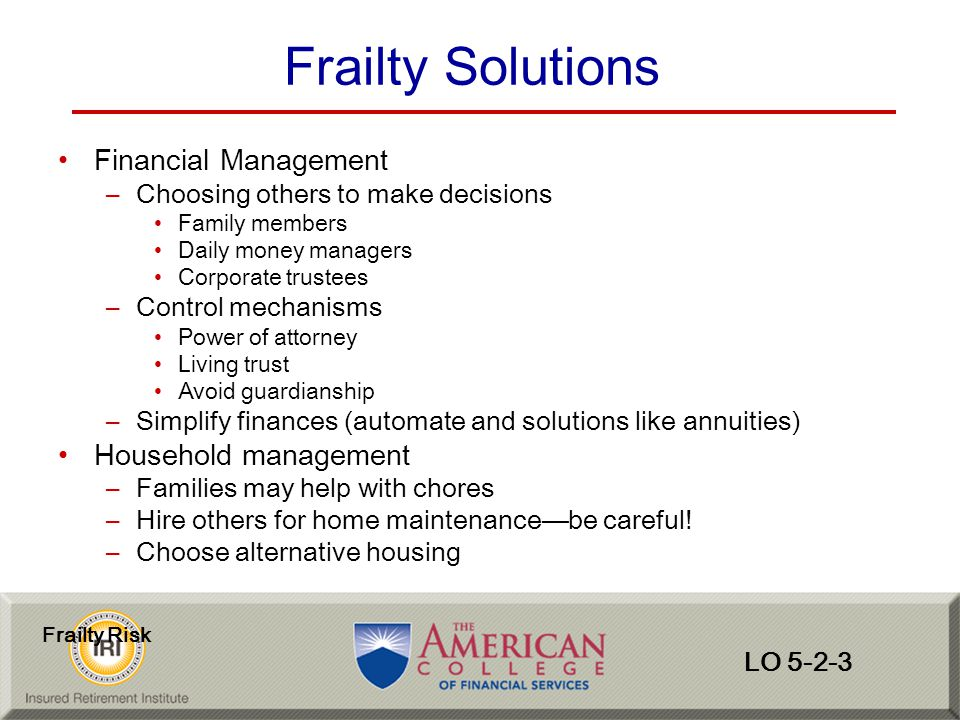 Frailty Solutions Financial Management Household management