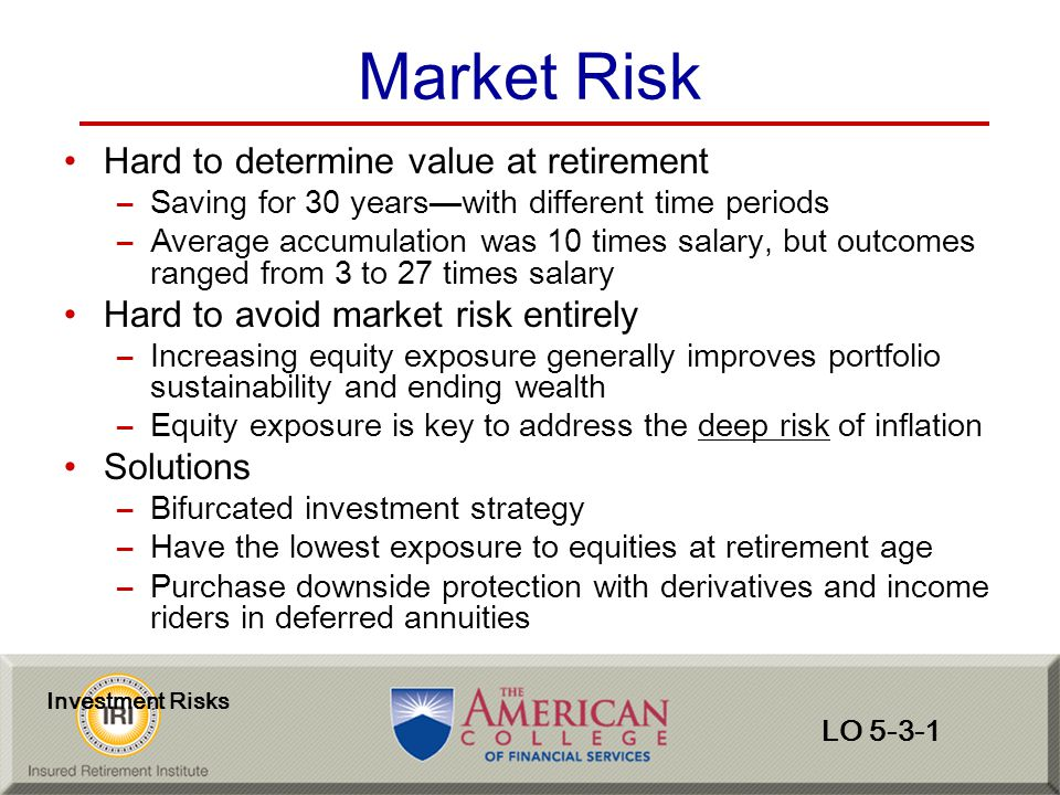 Market Risk Hard to determine value at retirement
