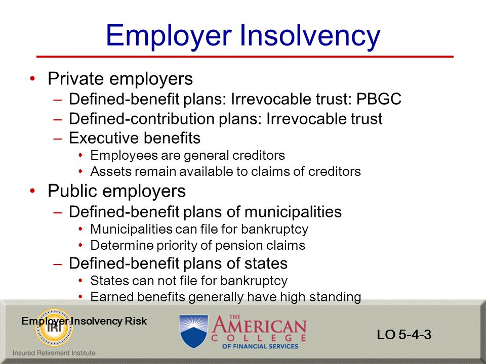Employer Insolvency Private employers Public employers