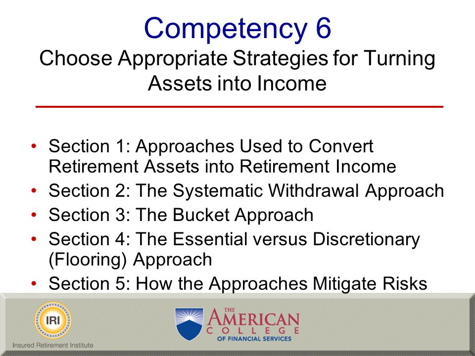 Competency 6 Choose Appropriate Strategies for Turning Assets into Income