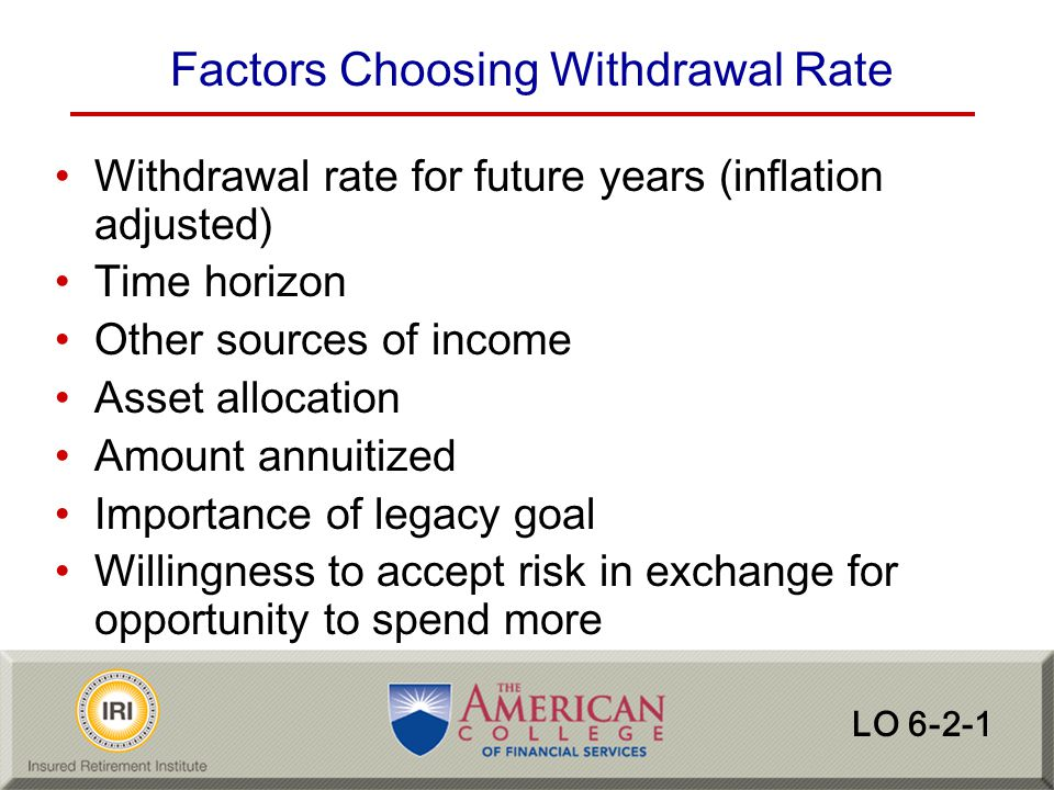 Factors Choosing Withdrawal Rate