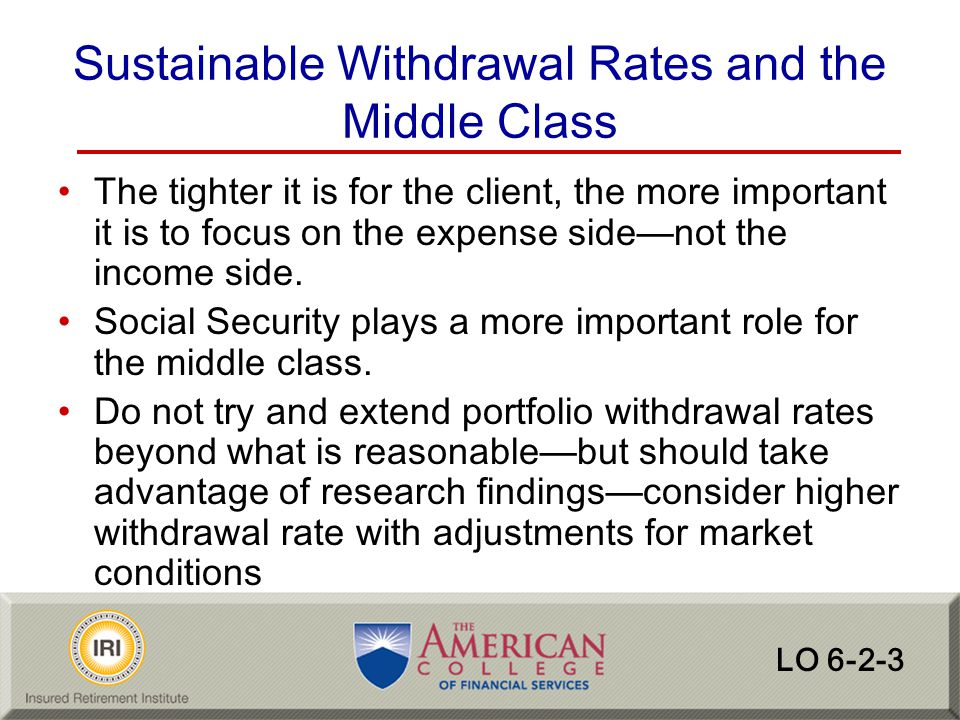 Sustainable Withdrawal Rates and the Middle Class