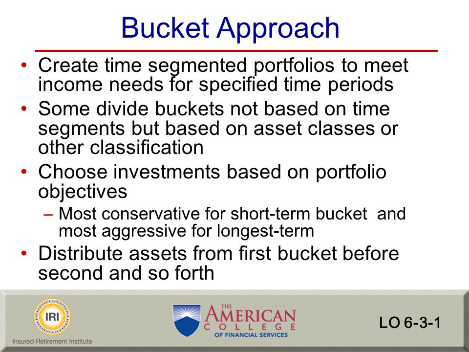 Bucket Approach Create time segmented portfolios to meet income needs for specified time periods.