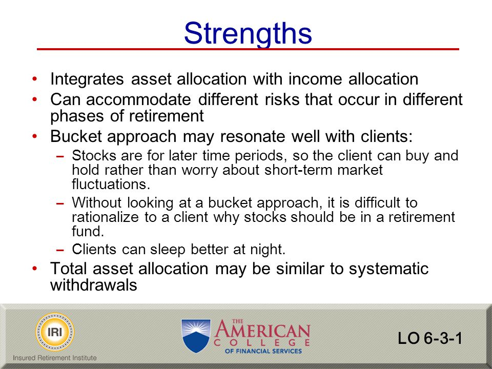 Strengths Integrates asset allocation with income allocation