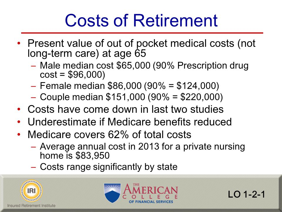 Costs of Retirement Present value of out of pocket medical costs (not long-term care) at age 65.