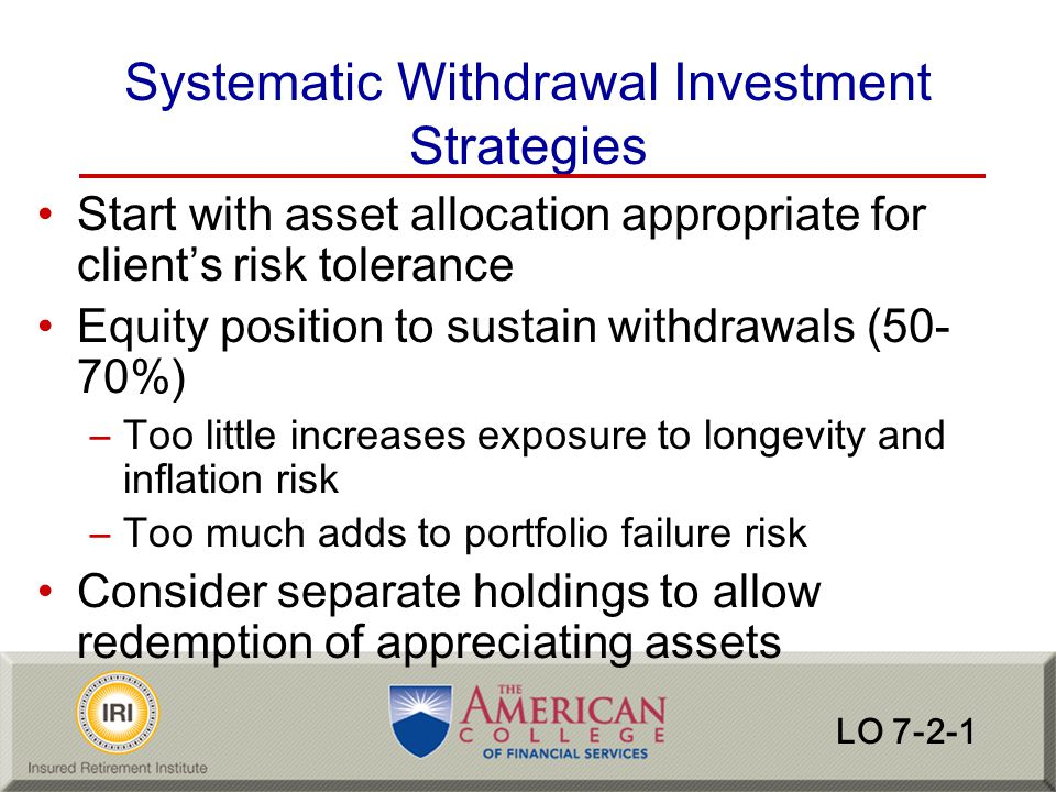 Systematic Withdrawal Investment Strategies
