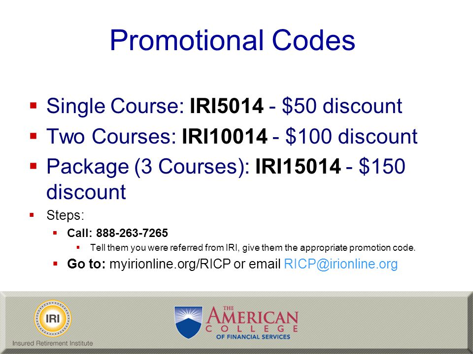 Promotional Codes Single Course: IRI5014 - $50 discount