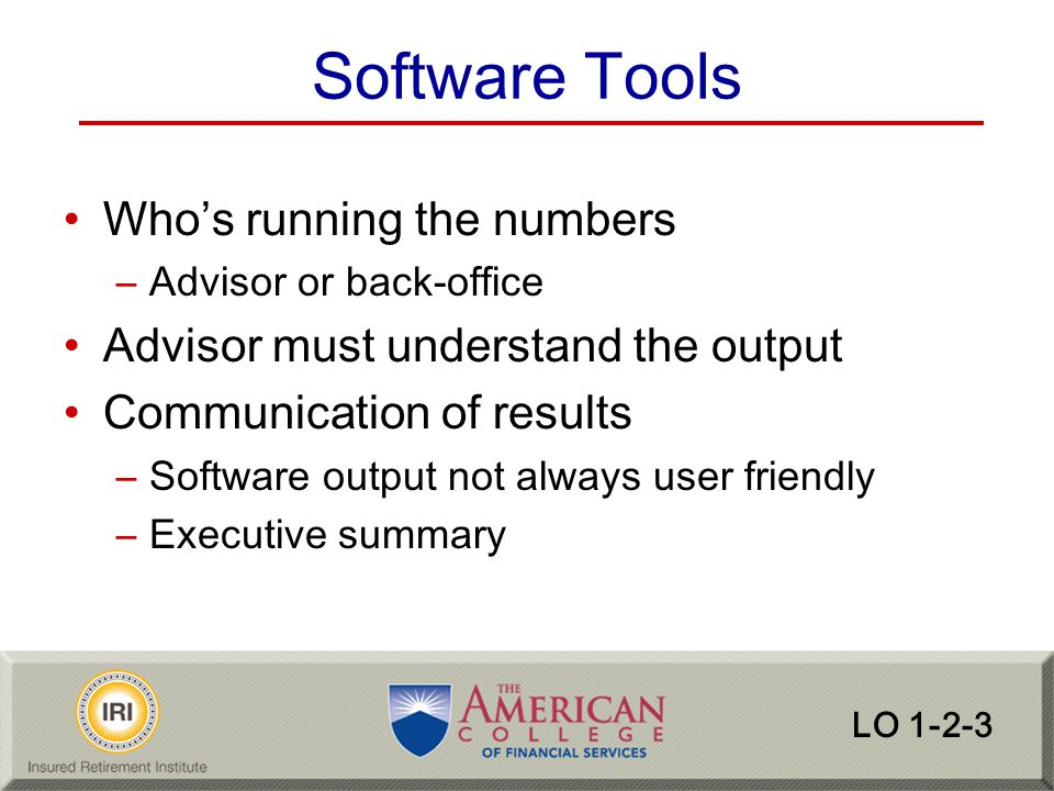 Software Tools Who's running the numbers