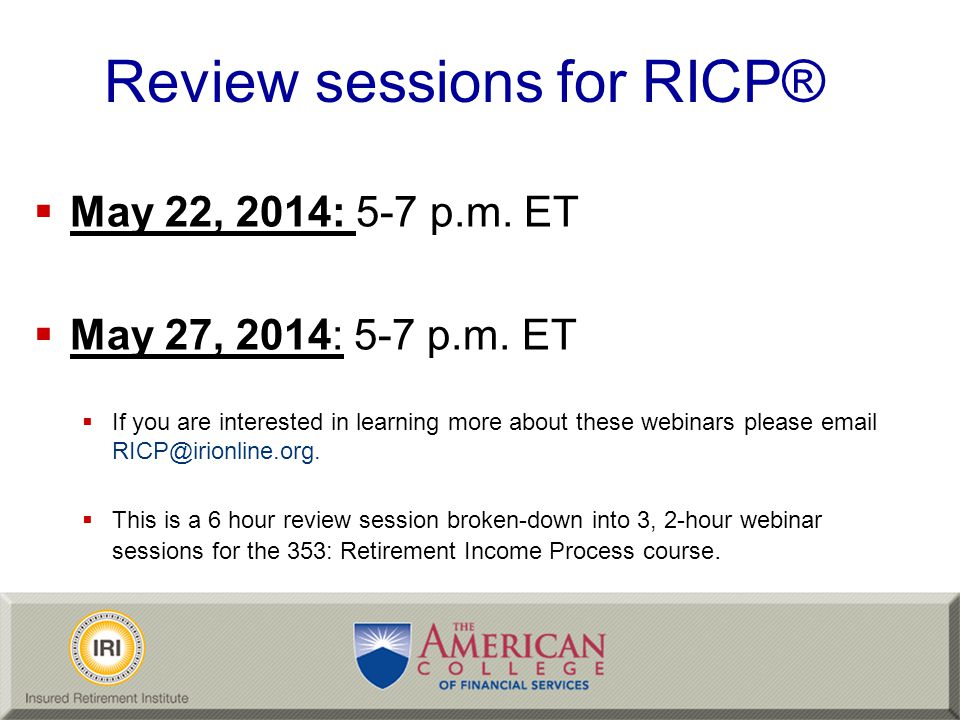 Review sessions for RICP®